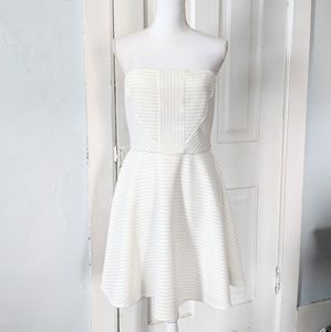 Express 10 Ivory Perforated Fit & flare Dress